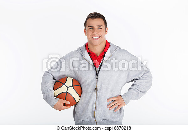 basquetebol, sorrindo, treinador, trainer. - csp16870218