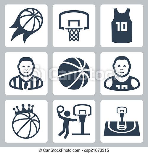 basquetebol, vetorial, jogo, ícones - csp21673315