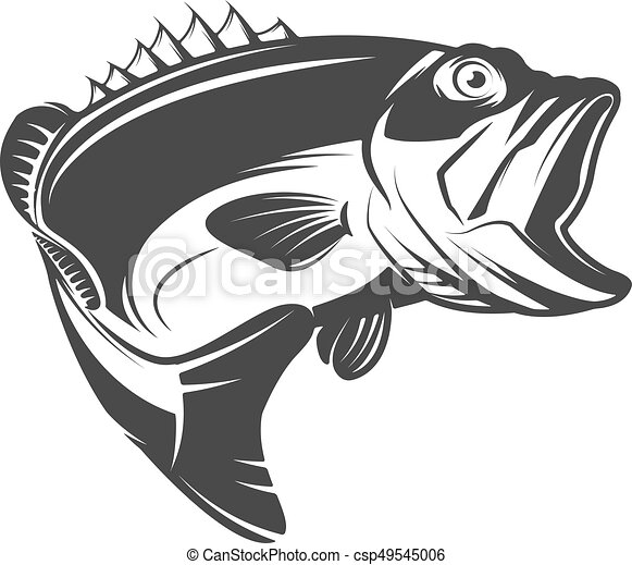 Bass Fish Icon Isolated On White Background Design Element For Logo Emblem Sign Brand Mark