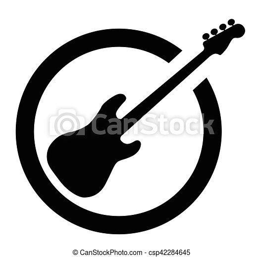 Bass Guitar Black Ink Stamp - csp42284645