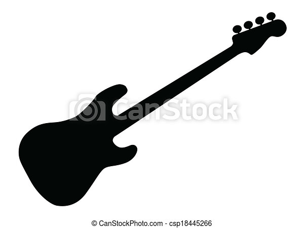bass guitar silhouette silhouette of a generic bass guitar isolated rh canstockphoto com Drum Set Clip Art bass guitar clipart black and white