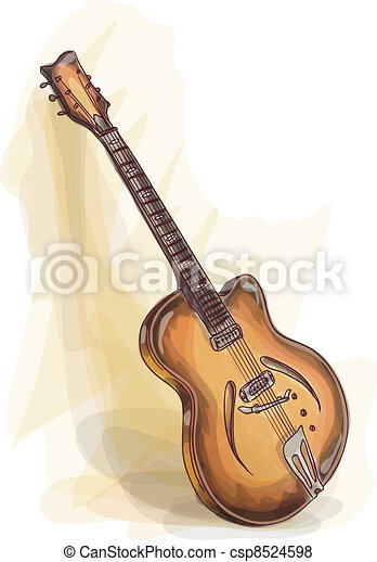 Bass Guitar Watercolor Style Vector