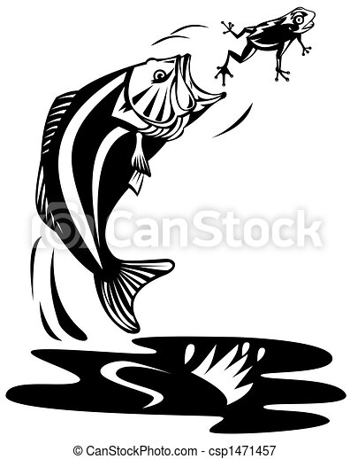 bass jumping to catch frog illustration of a bass stock rh canstockphoto com Bass Fish Vector High Resolution Largemouth Bass Fishing