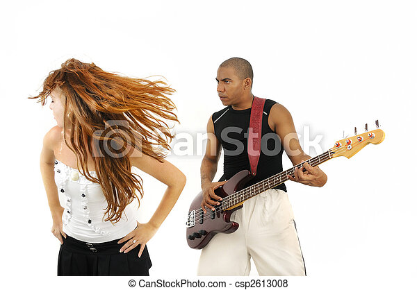 Bass player and dancing girl - csp2613008