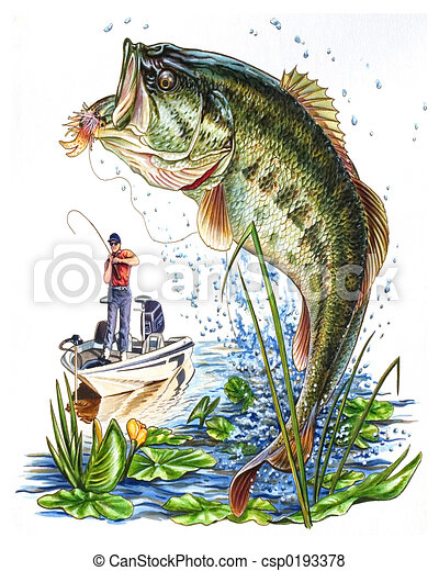 Bass Fishing Stock Illustration