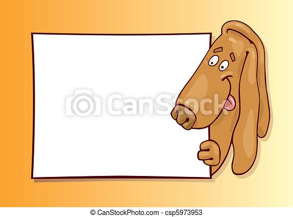 Basset dog with card - csp5973953