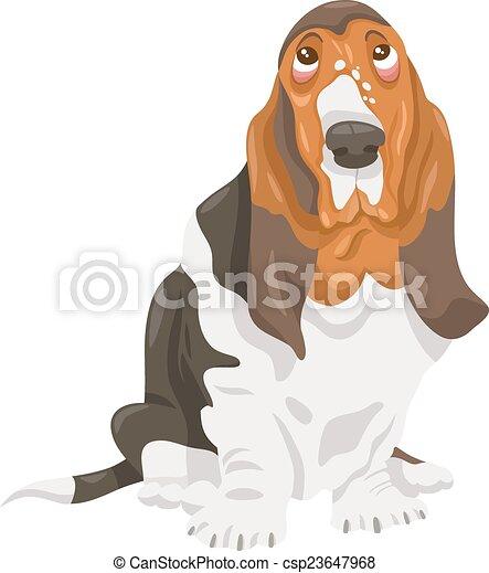 basset hound dog cartoon illustration - csp23647968