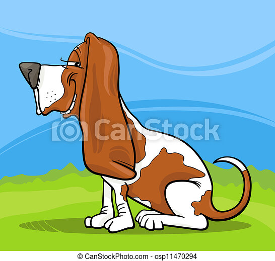 basset hound dog cartoon illustration - csp11470294