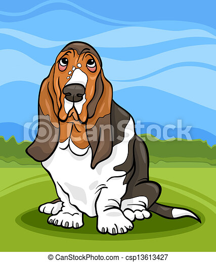 basset hound dog cartoon illustration - csp13613427