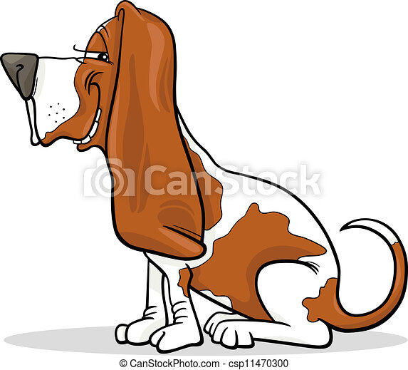 basset hound dog cartoon illustration - csp11470300
