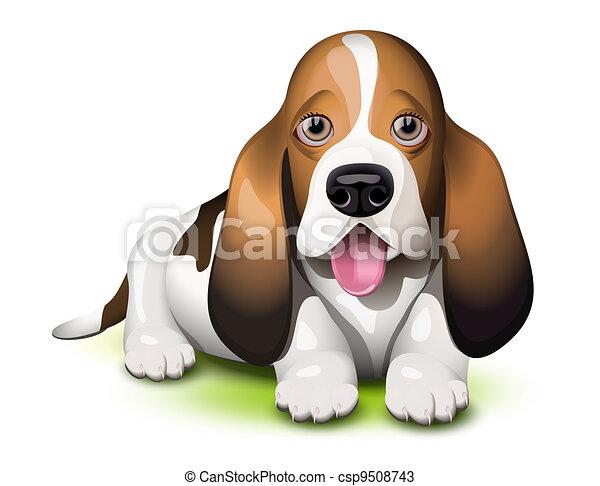 basset hound puppy sticking his tongue out vectors search clip art rh canstockphoto com basset hound birthday clipart Basset Hound Cartoon