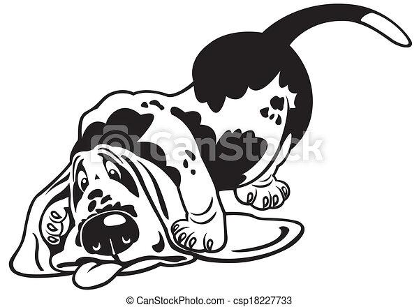 Bassotto bianco nero cartone animato. bassotto razza cane