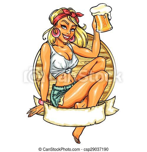 Una chica bonita con una taza de cerveza. - csp29037190
