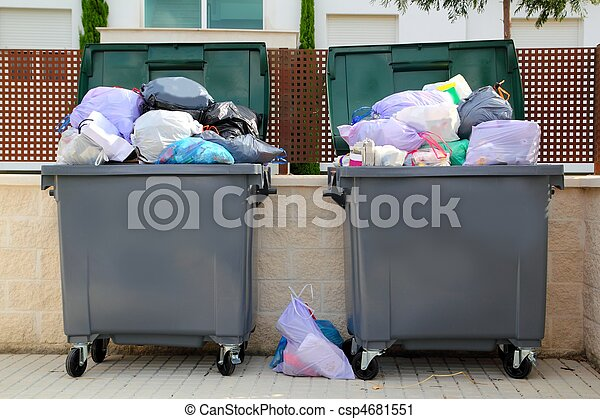 basura, lleno, contenedor, calle, basura - csp4681551