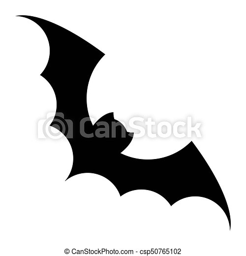 Bat black icon. Bat silhouette vector black icon. isolated on a ...