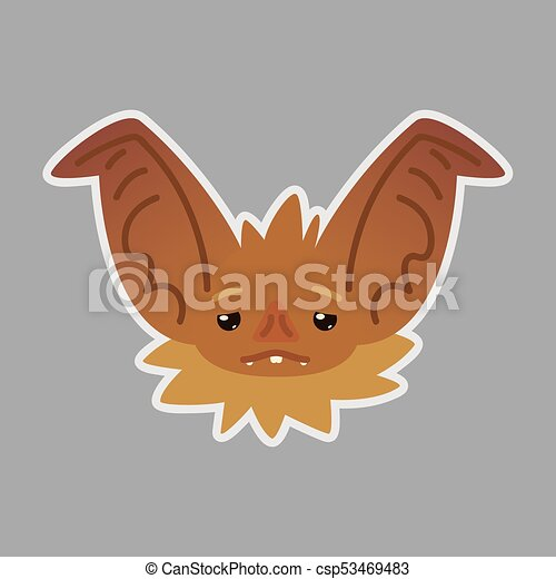 Bat emotional head  Vector illustration of bat-eared brown creature shows  Weary emotion  Tired emoji  Smiley icon  Halloween decoration, print, chat,