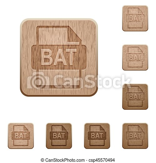 BAT file format wooden buttons - csp45570494