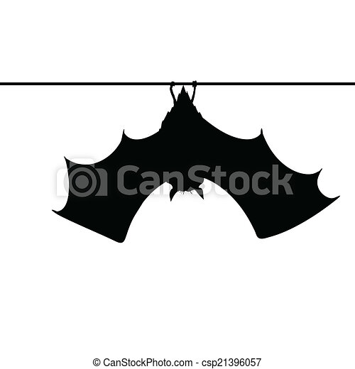 bat hanging on a rope silhouette - csp21396057