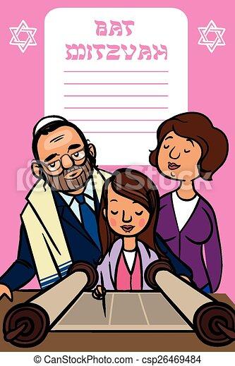 Bat Mitzvah Invitation Card.  Vector illustration - csp26469484