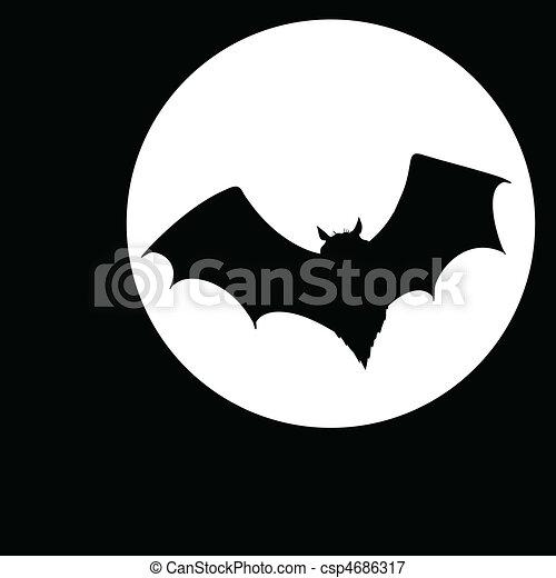 bat on moon illustration - csp4686317