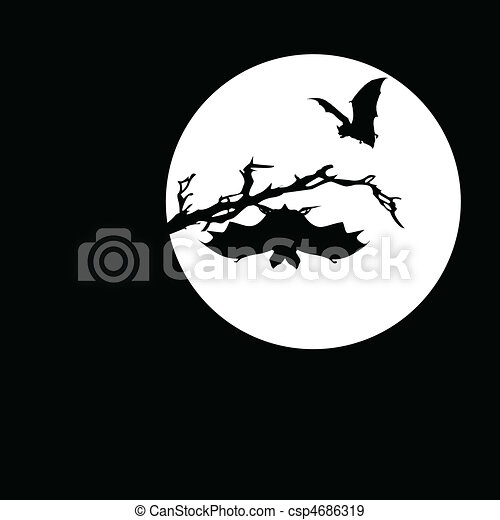 bat on the moon vector silhouettes - csp4686319