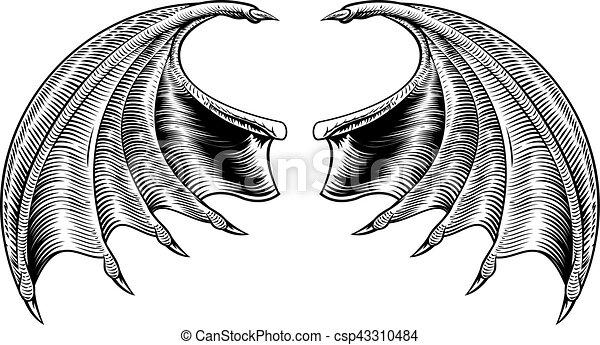 Bat or dragon wings a demon dragon or vampire bat wings - Aile de dragon dessin ...