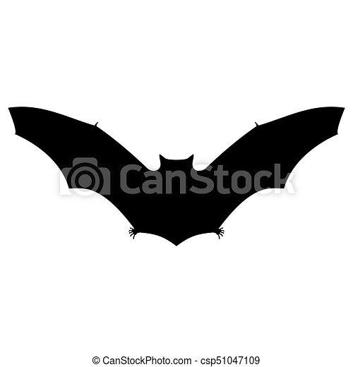 Bat Silhouette On White Background For Halloween Vector Illustration