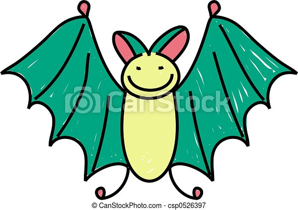 a cute bat drawn in the style of a toddler drawing rh canstockphoto com cute bat outline clipart cute halloween bat clipart