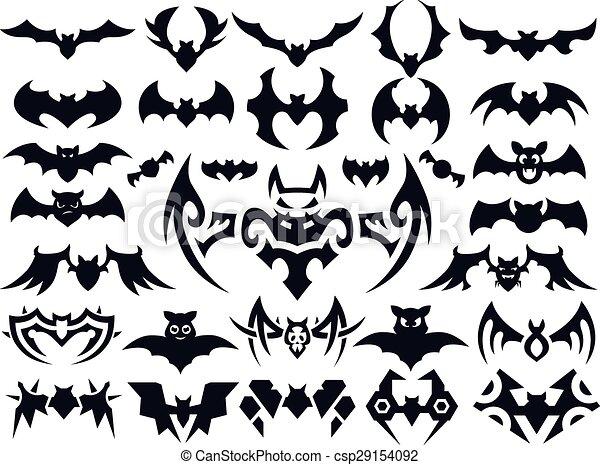 fb0a8cc05 Bat vector shapes set for halloween. A set of bats in different ...