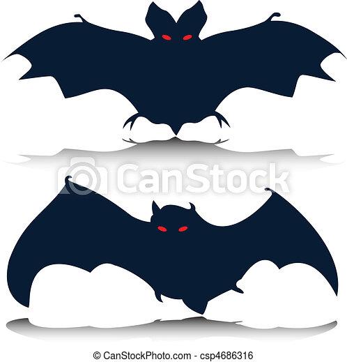 bat vector silhouettes - csp4686316