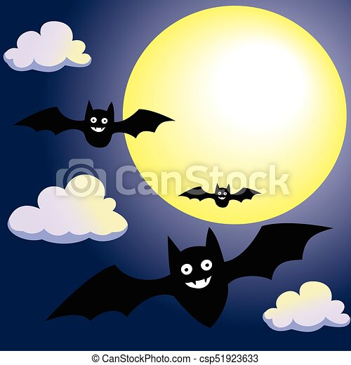 Bat with Moon and Clouds on Night Sky-Vector Illustration - csp51923633