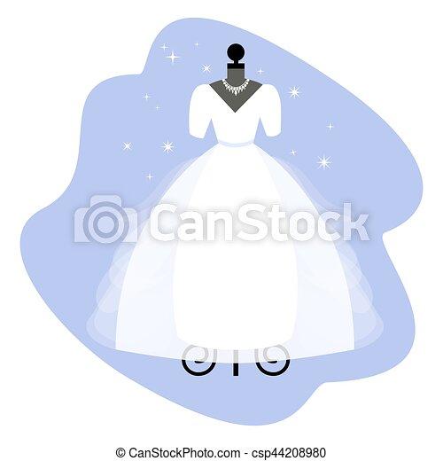 Vestido de boda. Vestido blanco a la moda en maniquí. La ropa de novia. Vector. - csp44208980