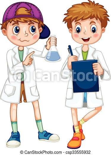 bata, experimentar, escritura, niños, ciencia - csp33555932