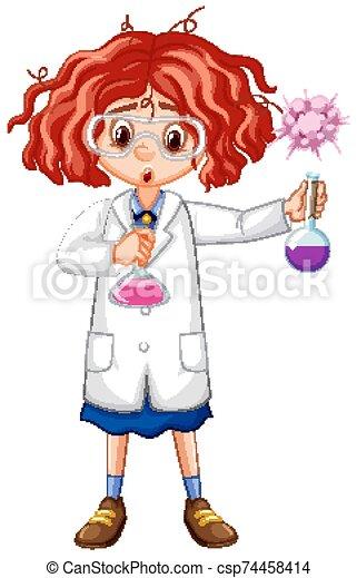 bata, tubos, tenencia, prueba, niña, ciencia - csp74458414