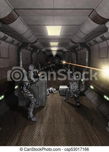 batalla, estación, pasillo, espacio - csp53017166