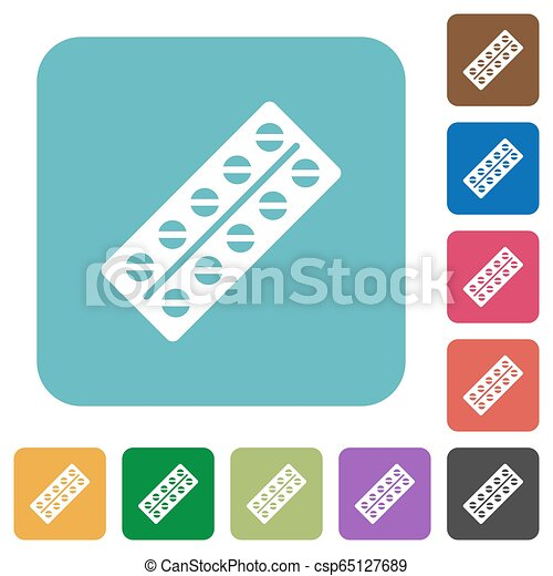 Batch of pills in blister pack rounded square flat icons - csp65127689
