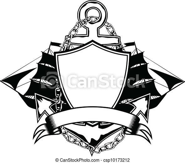Clip art vecteur de bateau ancre vector illustration ancre et bateau csp10173212 - Dessin ancre bateau ...