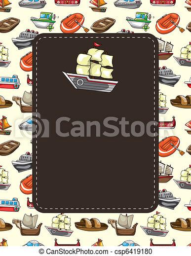 bateau, dessin animé, carte - csp6419180
