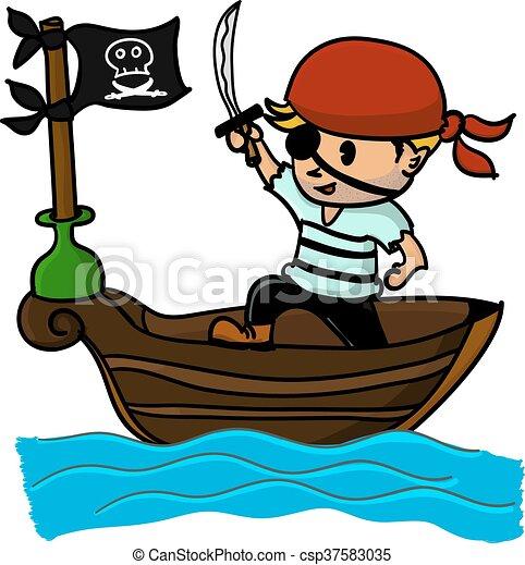 Bateau Dessin Anime Mer Pirate Sea Dessin Anime Bateau Pirate Canstock