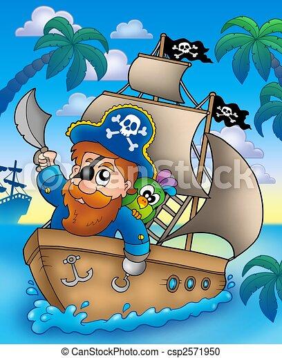 Bateau Dessin Anime Voile Pirate Illustration Voile Couleur Dessin Anime Bateau Pirate Canstock