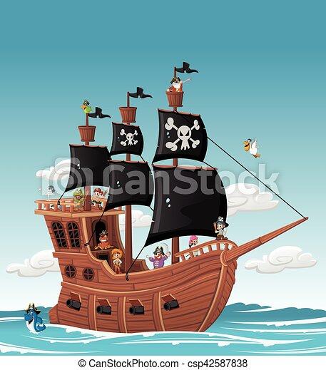 Bateau Groupe Pirates Dessin Anime Bateau Groupe Pirates Mer Dessin Anime Canstock