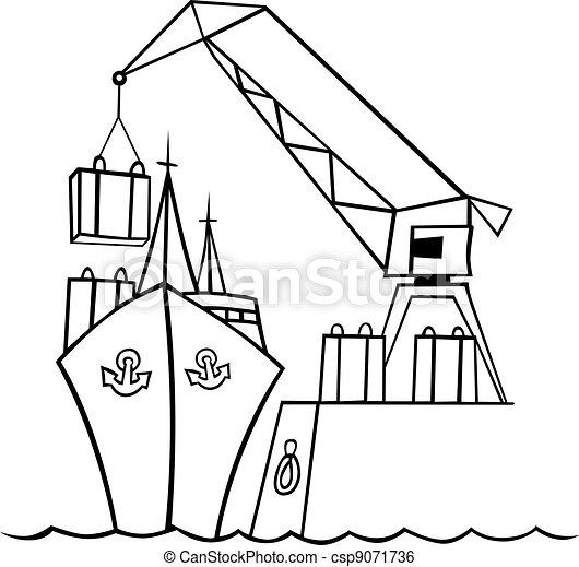 bateau, grue - csp9071736