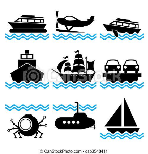 bateau, icônes - csp3548411