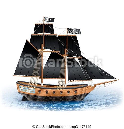 Bateau Illustration Pirate Noir Bateau Voiles Roger Realiste Bois Gai Pirate Mer Illustration Vecteur Drapeau Canstock