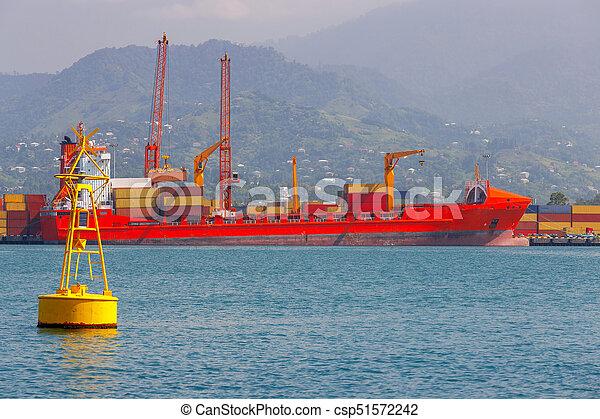 bateau, pier., récipient, batumi. - csp51572242