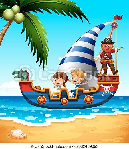 Bateau pirate enfants bateau pirate illustration enfants - Dessin bateau enfant ...