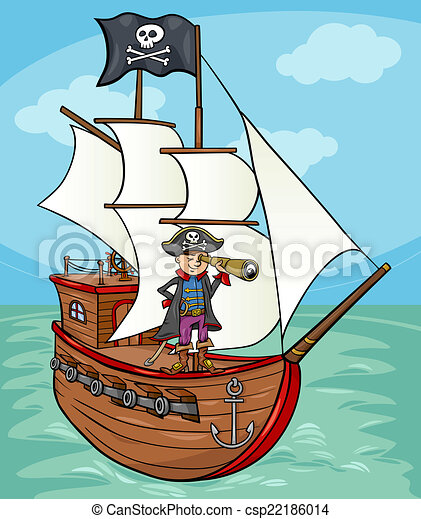 Bateau pirate illustration dessin anim rigolote illustration pirate drapeau roger - Dessin bateau enfant ...
