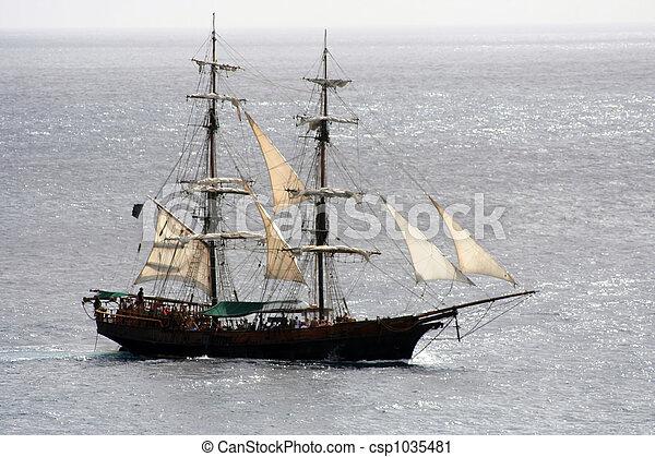 Bateau pirate voile coup voile loin mer fin bateau - Voile bateau pirate ...
