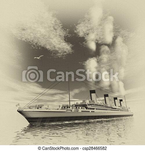 Bateau Titanic Render 3d Style Render Vendange Titanic Nuageux Eau Celebre Icebergs Jour Bateau Flotter Canstock