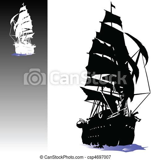 bateau, vecteur, pirates, illustration - csp4697007